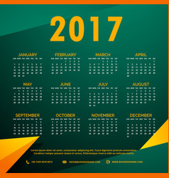 stylish 2017 calendar design with abstract shapes vector image
