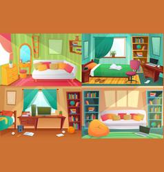 teenagers bedroom student cluttered room vector image