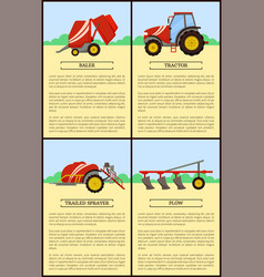 Tractor and trailed sprayer vector