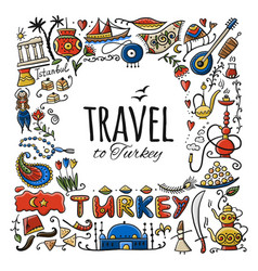 travel to turkey greeting card for your design vector image