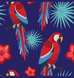 tropical design red macaw parrot seamless pattern vector image