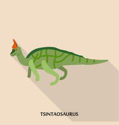 tsintaosaurus icon flat style vector image