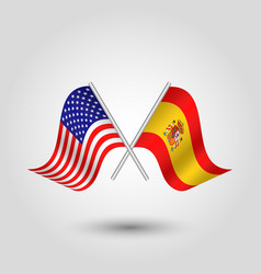 Two crossed american and spanish flags vector