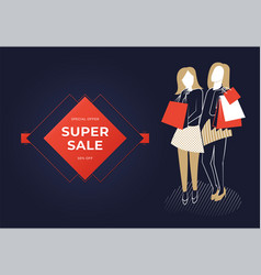 two women holding bags vector image