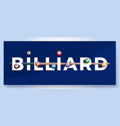 typography word billiard logo sport logotype with vector image