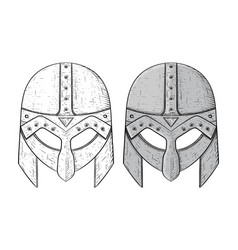 viking helmets hand drawn sketch isolated on vector image vector image