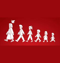 walk with jesus follow jesus cartoon graphic vector image