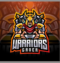 Warrior gamer esport mascot logo vector