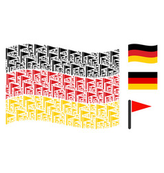 Waving germany flag mosaic of triangle flag items vector