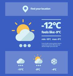 Weather web forecast mobile meteorology widget vector
