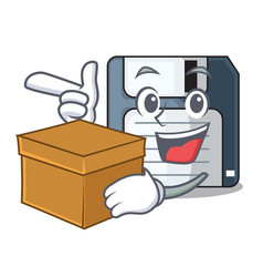 With box floppy disk isolated with a mascot vector
