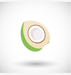 Young green coconut flat icon vector