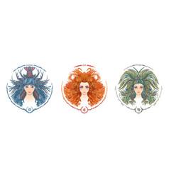 zodiac sign portrait a woman cancer leo vector image