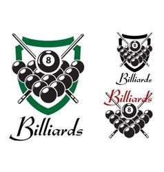 Billiards and snooker retro emblems set vector image