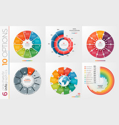 collection of 6 circle chart templates 10 vector image