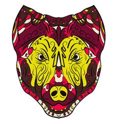 colorful dog zentangle stylized head vector image