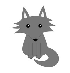 gray wolf cute cartoon baby character icon forest vector image vector image