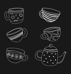 tea set a collection of stylized cups and vector image vector image