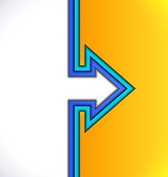 Colorful arrow with yellow and blue paper layers vector image