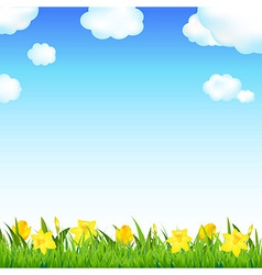 Flower Meadow With Grass And Cloud vector image vector image