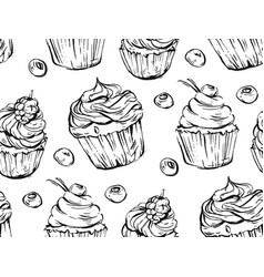 hand drawn graphic black and white cupcakes vector image