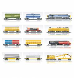 railroad transportation set vector image vector image