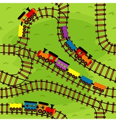 seamless pattern railway with trains vector image vector image