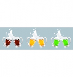 three beer mug vector image vector image