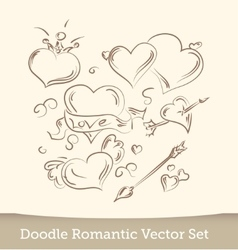 Valentine Doodles set isolated on white vector image vector image