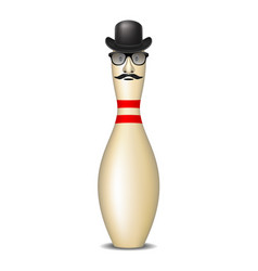 bowling pin with bowler hat mustache and glasses vector image vector image