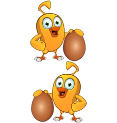 Cartoon Chick Holding An Egg vector image