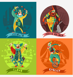 circus clowns 4 icons square concept vector image vector image