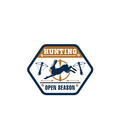 hunter club isolated badge with wild animal vector image