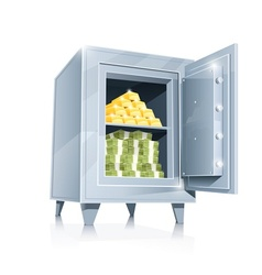 open metallic safe with gold vector image vector image