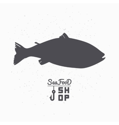 Salmon fish silhouette Seafood shop branding vector image vector image