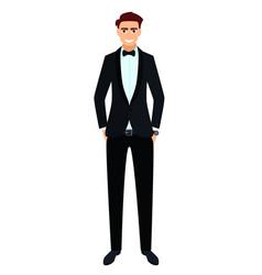 young man in a black tuxedo vector image vector image