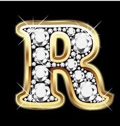 letter r gold and diamond vector image vector image