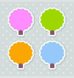 4 stickers stylized as trees with scalloped edges vector