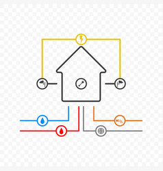 a minimalistic of a house with communications vector image