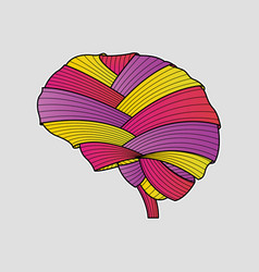 Abstract colorful fabric brain handdrawn painting vector