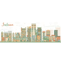 Abstract Incheon Skyline with Color Buildings vector