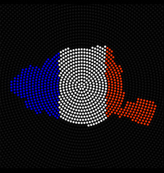 abstract map paris radial dots with flag france vector image