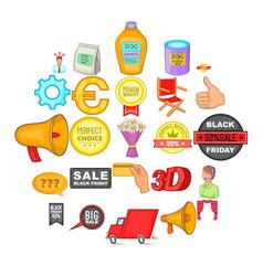 advertisement icons set cartoon style vector image