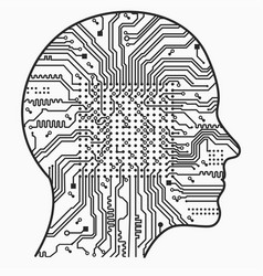 Artificial intelligence the image of human head vector