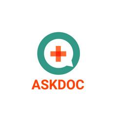Ask doctor logo template vector
