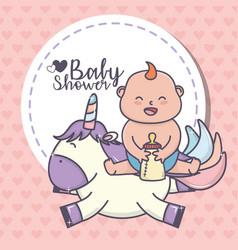 bashower little girl with bottle milk and cute vector image