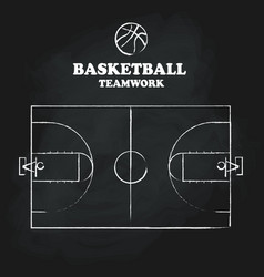 Basketball court floor vintage hand drawn vector
