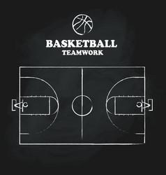 basketball court floor vintage hand drawn vector image