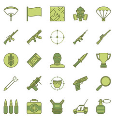 Battle royale game concept colored icons vector