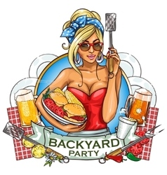 BBQ Grill Party label design vector